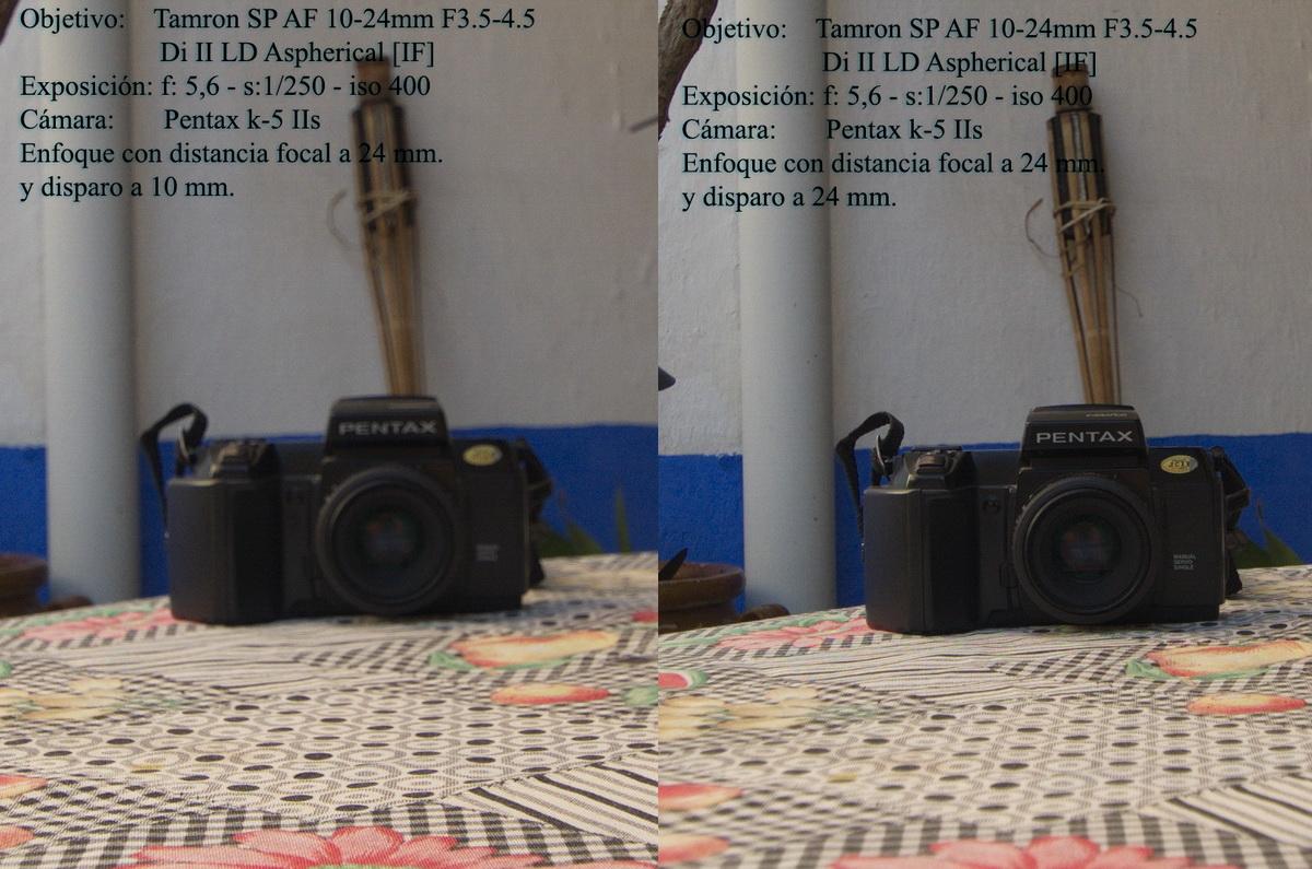 Comparativa de las dos imágenes del objetivo parafocal enfocando con diferentes focales